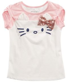 Hello Kitty Toddler Girls Sequin Bow T-Shirt - Ivory/Cream Little Girl Fashion, Kids Fashion, Hello Kitty T Shirt, Baby Shirts, Baby Clothes Shops, Baby Dress, Girl Outfits, Toddler Girls, Girl Clothing