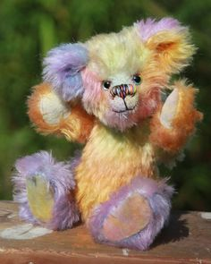 Dizzy Wizzy is a charming, one of a kind, artist bear made from gorgeous, beautifully coloured hand dyed mohair by Barbara-Ann Bears