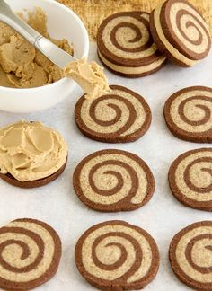 Dark chocolate. Caramel frosting. Might make the other swirly flavor caramel or vanilla or butter instead of mocha. Oh! Or lime.