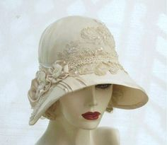 Custom Made Vintage Style Buckram Ivory Cloche Wedding Hat