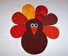 Applique PDF plantilla patrón sólo aves de Turquía de acción