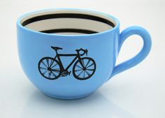 Bicycle Mug large for Soup or Coffee and Bike Lovers Blue