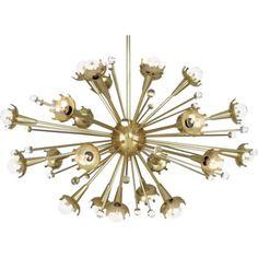 Robert Abbey 710 Jonathan Adler Sputnik 24 Light Chandelier in Antique Brass