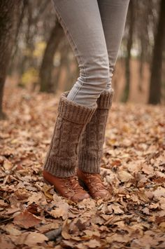 Brown Hand Knit Leg Warmers Boot Cuffs Boot Warmers Boot Toppers Fall colors knitted warm Accessories Women ready for shipping. $38.00, via Etsy.