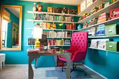 Teal and hot pink office. Room_Fu-office_desk1 Photo by Suzi Q. Varin / Q Weddings