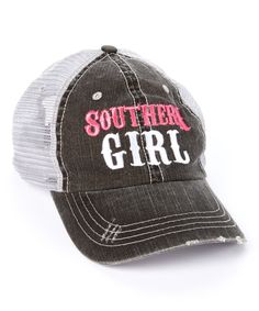 Love this Rhinestone Junkie Gray 'Southern Girl' Baseball Cap by Rhinestone Junkie on #zulily! #zulilyfinds