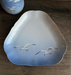 1950's Bing & Grondahl Seagull Triangular Tray, B and G Porcelain Platter by MinniesFlea on Etsy