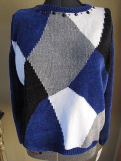 $66 Alfred Dunner Madrid Long Sleeve Blue Colorblock Chenille Sweater Sz M  NWT #AlfredDunner #Pullover