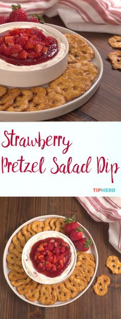 Looking for an unexpected dip that will blow your guests away the next time you entertain? This light and refreshing dip, featuring fresh strawberries, is the perfect sweet, summery treat. And because we love the combination of sweet and salty things (cho Appetizer Dips, Yummy Appetizers, Appetizer Recipes, Pretzel Dip Recipes, Light Appetizers, Chips Dip, Strawberry Pretzel Salad, Strawberry Salads, Sauces