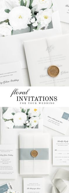 The Jennifer wedding invitation suite is paired with Marguerite florals. Marguerite features silver dollar eucalyptus, olive leaves, ranunculus, and white dahlias.