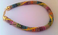 Bead Crochet Necklace  Summer Beaded Necklace  by alevduzen