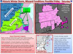 Life-Threatening Blizzard Poised to Strike New England - A life-threatening and historic blizzard that could rank among the top 10 snowstorms on record in southern New England is poised to plaster the region this weekend with snow that will be measured in feet rather than inches. The storm could also cause major coastal flooding and produce hurricane-force wind gusts, forecasters said.