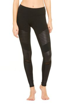 <p>Major moto. From the mat to what's before and after, the Moto Legging fits into your lifestyle. On-trend moto-inspired quilted stitching and mixed matte shine fabric with mesh detail.</p>