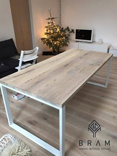 Items similar to Bleached oak dining table with strong metal legs. on Etsy - Bleached oak dining table with strong metal legs. Can by BramLTU