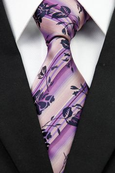 AT0287 New Silk Pink Purple Floral Classic Jacquard Woven Men's Tie Necktie