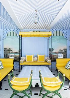 Jaipur, India's Gem Palace, has opened a Mumbai outpost that will make you swoon. The first thing that came to my mind when I saw it featured on Architectural Digest was the similarities with… Mumbai, New York Townhouse, Indian Interiors, Lounge, Living Spaces, Living Room, Mellow Yellow, Color Yellow, Yellow Style
