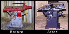 Guidelines for buying/restoring old or vintage woodworking machinery (pictured: restored Oliver table saw)