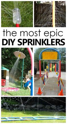 Creative homemade sprinklers for kids. Great summer fun! #summer #DIY #kidsactivities #waterplay