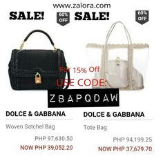 In need of retail therapy? Shop now at www.zalora.com Free shipping, free return and Cash on delivery. ☺   Good News! Dolce & Gabbana Bags is now on SALE! So Hurry! Grab them now before it's over. ☺