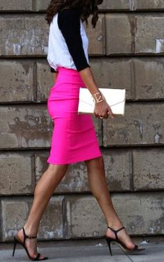 Her Hot Pink Skirt!!  More fashion and beauty inspiration over at  www.breakfastwithaudrey.com.au