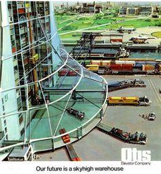 """Our Future Is..."" OTIS Elevators Ad Series (1975) Art by John Berkey http://futuristicrobots.blog.fc2.com/blog-entry-30.html http://futuristicrobots.blog.fc2.com/page-2.html"