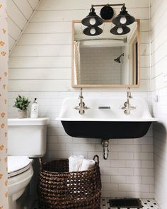 Easy Ways To Love Your Home; Farmhouse Bathroom Decor Ideas As far as home-improvement projects go, it's not the scale of the changes that you make. Farmhouse Bathroom Sink, Bathroom Red, Bathroom Interior, Small Bathroom, Bathroom Faucets, Kohler Brockway Sink, Vintage Bathroom Sinks, Bathroom Ideas, Bathroom Marble