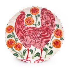 Red chicken Plate ~ Sue Tirrell