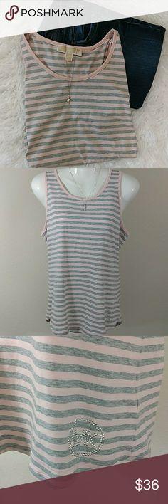 Michael Kors Pink & Gray Striped Tank Medium Pink and Gray Medium Scoop Neck 95% cotton 5%Elastane Michael Kors Tops Tank Tops