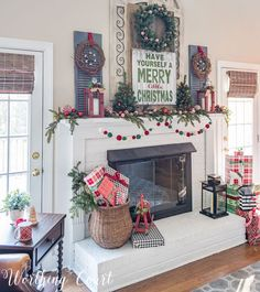 Christmas Mantels Around America – My Very Merry Farmhouse Christmas Mantel – christmas home ideas – Weihnachten Decoration Christmas, Farmhouse Christmas Decor, Country Christmas, Xmas Decorations, Farmhouse Mantel, Modern Farmhouse, Fire Place Christmas Decor, Farmhouse Ideas, Country Farmhouse