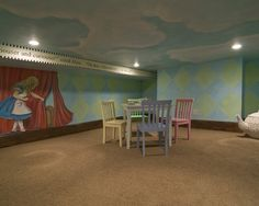 This secret Alice in Wonderland kids playroom is proportionally sized for youngsters and includes miniature furniture and an entry tunnel.