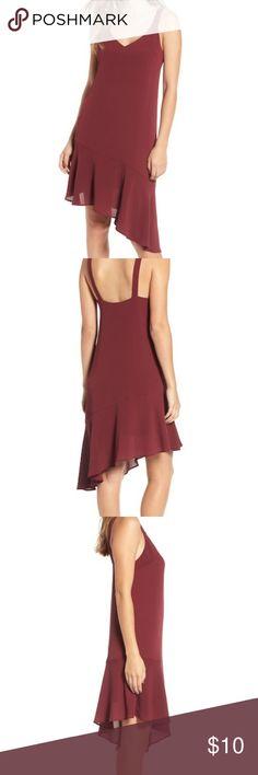 2e5e06cf7c3a Lush Asymmetrical Ruffle Hem Dress Personal Closet- Never worn NWOT Size M  Color- burgundy