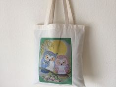 New Owl and Pussy Cat Design Tote Shopping Bags by PerthGiftHouse on Etsy