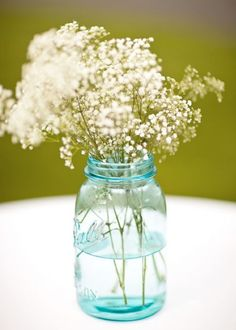 Baby breath in a mason jar