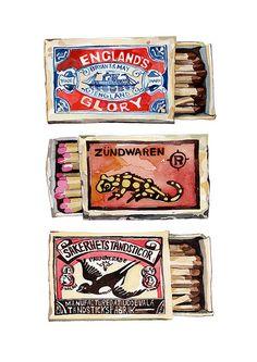 Watercolor vintage matchboxes
