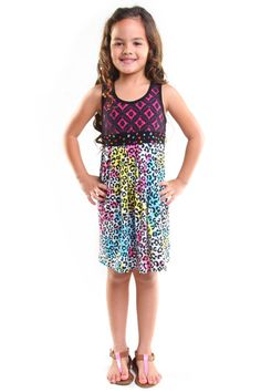 Havengirl Rainbow Leopard Dress with Black Lace