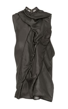 This tunic by **Rick Owens** has a lightweight construction in a neutral hue and rouched detailing.
