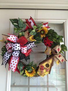Lady Bug Wreath, Spring Wreath, Summer Wreath
