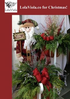 Use Christmas picks to decorate outdoor containers. Christmas Picks, Christmas Wreaths, Texture, Sprays, Holiday Decor, Outdoor, Color, Decorating, Home Decor