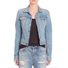 Alexander Wang Axle Cropped Denim Jacket ($330) ❤ liked on Polyvore featuring outerwear, jackets, apparel & accessories, light indigo fade, cropped jean jacket, blue cropped jacket, alexander wang, cropped jacket and denim jacket