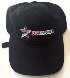 US Airports Black Baseball Cap Hat Red White Blue Star Logo Adjustable Band  Rare  Cintas d74fe9606f5d