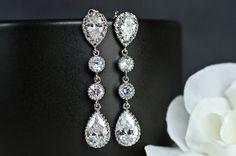 Bridal Earrings Cubic Zirconia Ear Posts Cubic by CrinaDesign73, $33.00