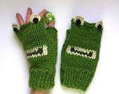 Fingerless Frog Mittens - Adult Fingerless Frog Gloves