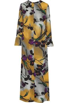Marni - Floral-print Crepe Maxi Dress - Yellow - IT46