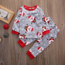 Christmas T-shirt Top + Pant Casual Cotton 2pcs Clothing Outfits Set Newborn Infant Baby Boys Girls Clothes(China (Mainland))