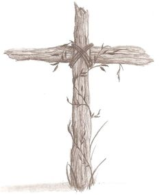 Rugged Cross Sketch   Old Wooden Cross Drawing Rugged cross by k-allie