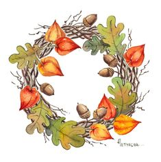Wreath Watercolor, Watercolor Flowers, Watercolor Paintings, Autumn Illustration, Botanical Illustration, Hallowen Ideas, Vintage Flowers Wallpaper, Tole Painting Patterns, Wreath Drawing