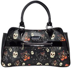 SOURPUSS BLACK CATS CAMILLE PURSE - Our Camille Purse is retro perfection! With a slight kidney bean shape and its adorably spooky Black Cats print, this handbag has it all! The matte vinyl exterior is accented with glossy, black handles and fun details, while the pockets inside and out make organization a breeze!