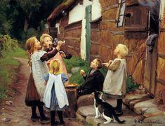 """""""Haciendo pompas"""". Hans Andersen Brendekilde (Dinamarca, 1857-1942)."""