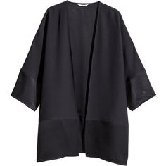 H&M Kimono (€24) ❤ liked on Polyvore featuring outerwear, jackets, cardigans, kimono, coats, black, reversible jackets, kimono jackets, stitch jacket and h&m jackets