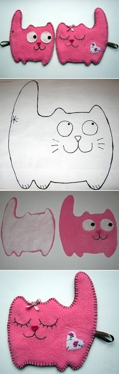 DIY Fabric Cat Couple DIY Projects | UsefulDIY.com Follow Us on Facebook ==> http://www.facebook.com/UsefulDiy